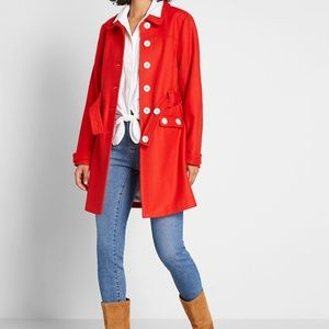 Modcloth Red Count Me In Wool-Blend Car Coat S